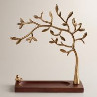 Gold Tree Jewelry Stand with Wooden Base | World Market ...