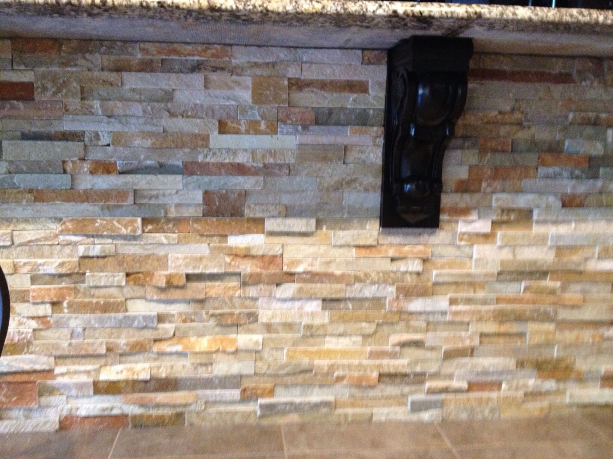 stacked stone kitchen backsplash island cooktop on gorgeous colors and would be