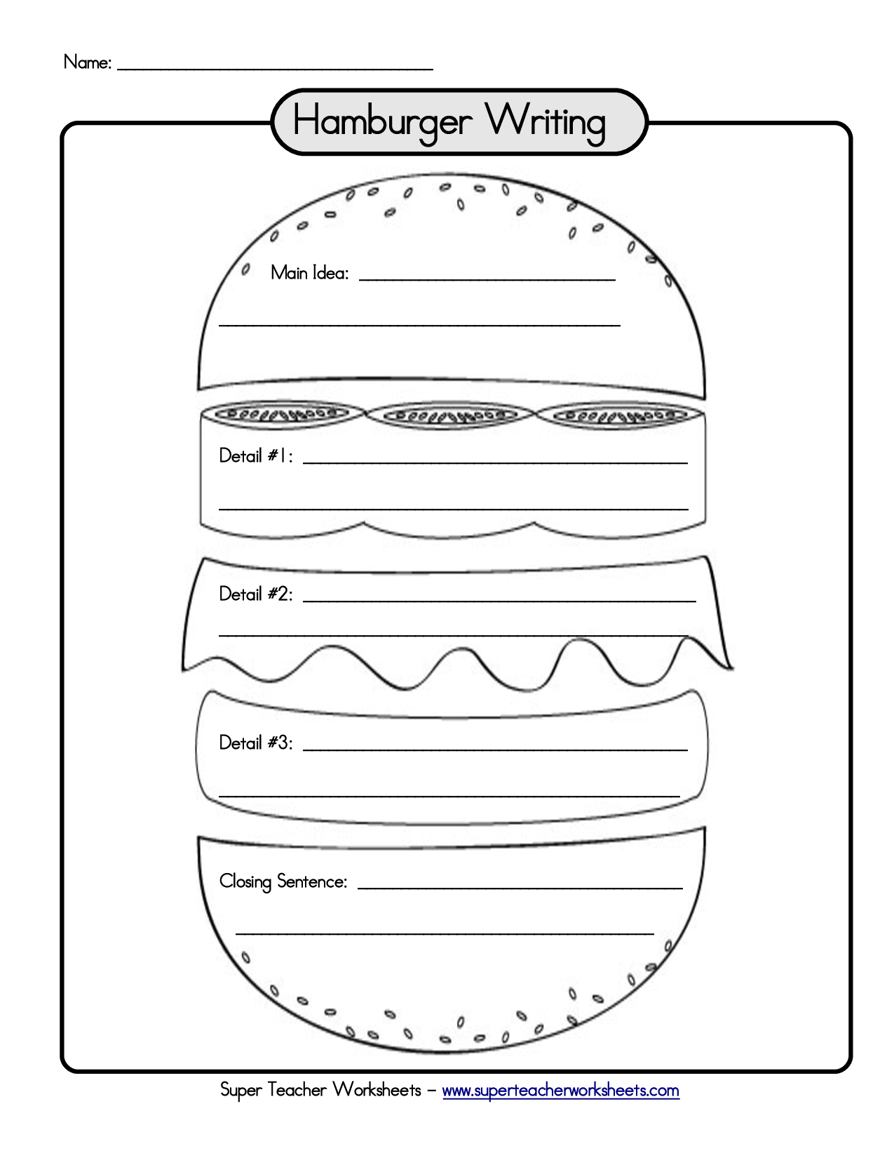 Hamburger Graphic Organizer Writing Paragraph Links To A Bunch Of Different Templates Which Are