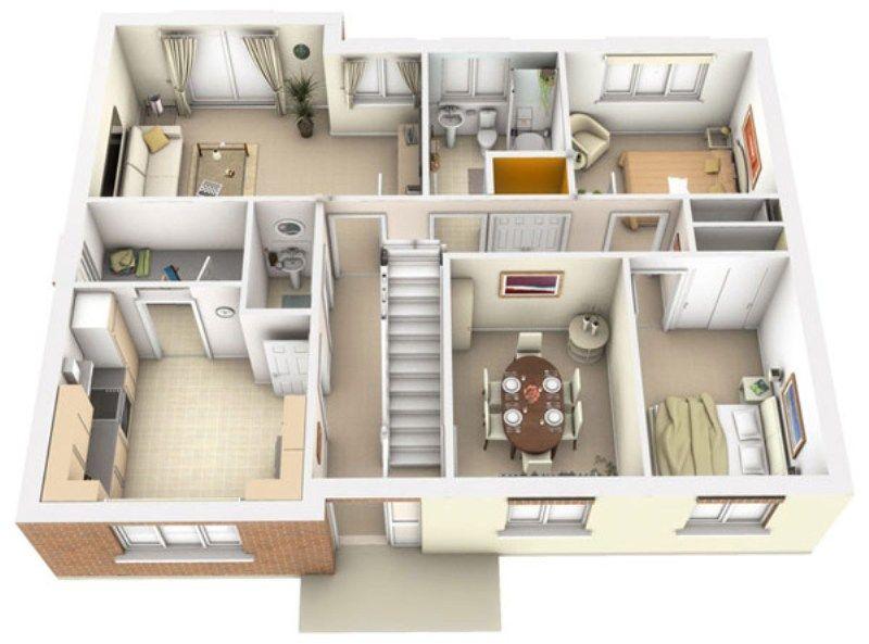 Interior Plan Houses 3d Architecture – Interior Plan