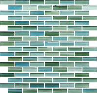 Rip Curl Green and Blue Hand Painted Glass Subway Mosaic ...
