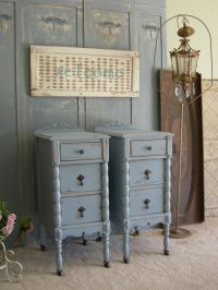 Antique Pair Of Nightstands Chic Bedroom Furniture Shabby ...