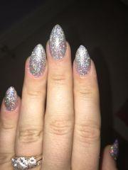 silver glitter almond stiletto