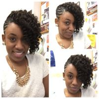 Braided updo with Kanekalon hair crocheted and curled to ...