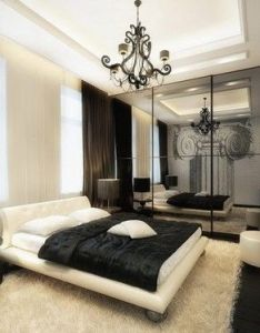 Love the curtains mirror design painted wall white furry rug black and with  pipe of color is must do for brandy jeff   bedroom also home pinterest bedrooms interiors master rh za
