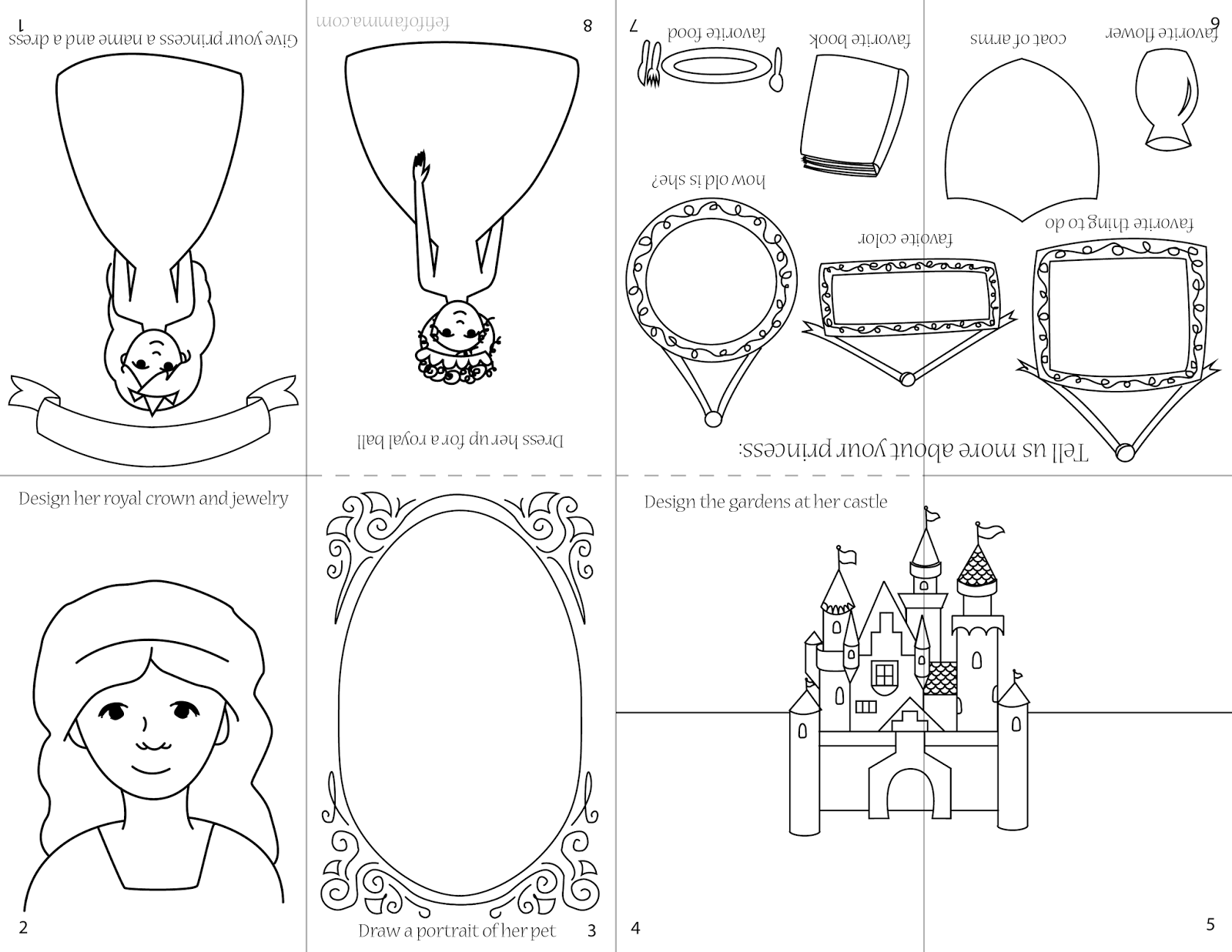 Fe Fi Fo Famma Generic Princess Coloring Page Booklet Kids