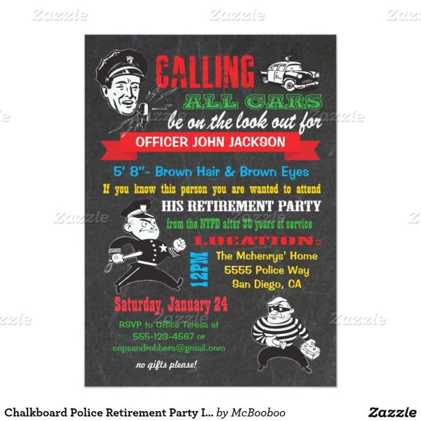 Chalkboard Police Retirement Party Invitations Year Of Clean Water