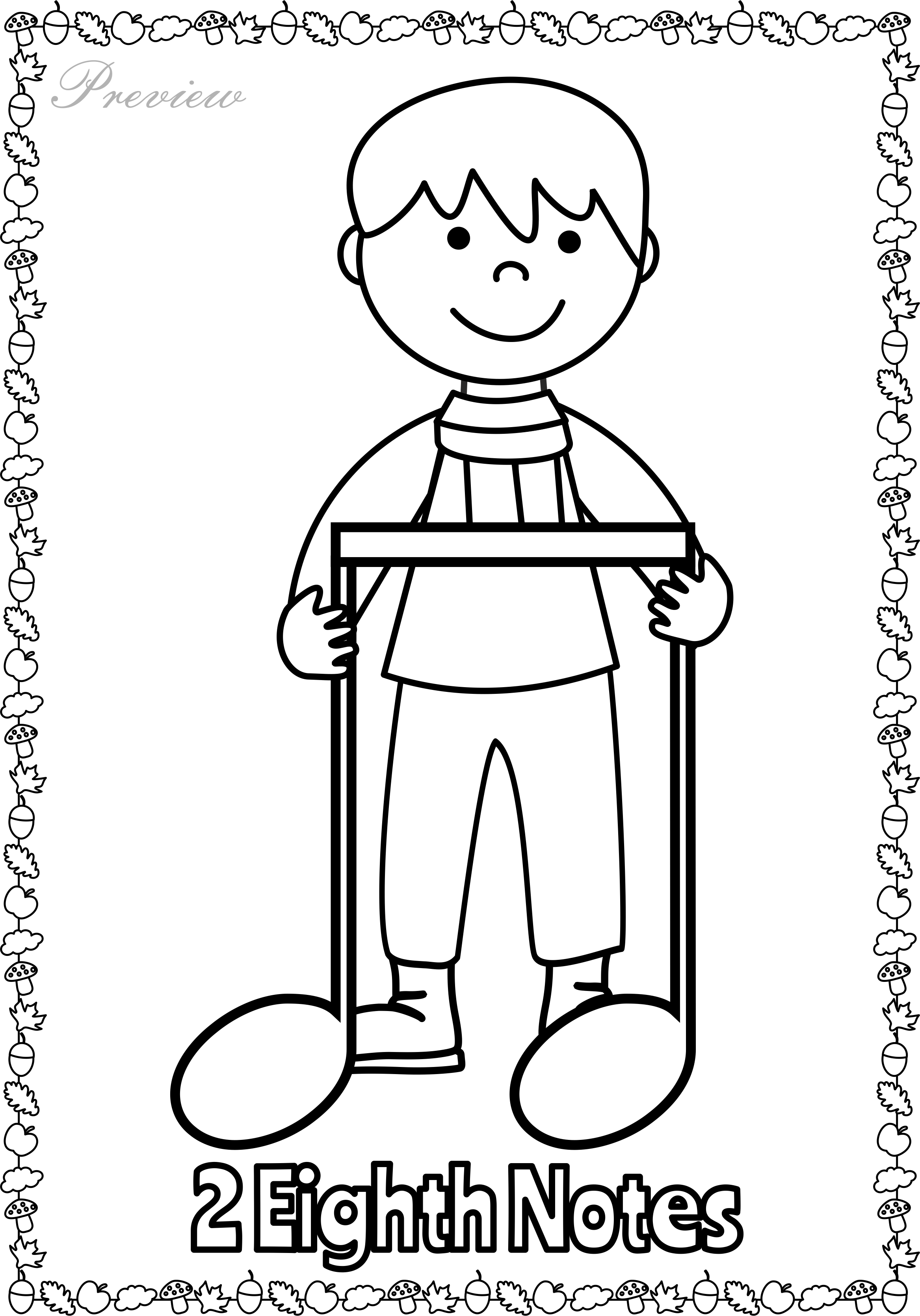 Quincy Quarter Note Coloring Page