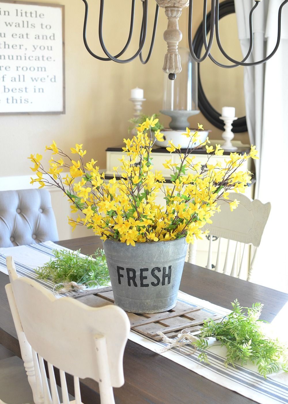 Diy bucket of flowers spring centerpiece farmhouse dining roomsfarmhouse ideasfarmhouse also centerpieces rh pinterest