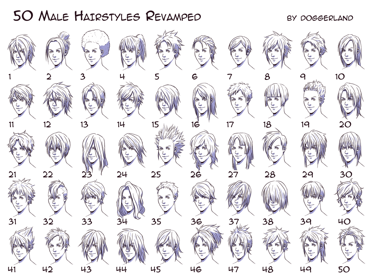 Anime Hairstyles For Guys Side View Drawing Hair Anime Male And
