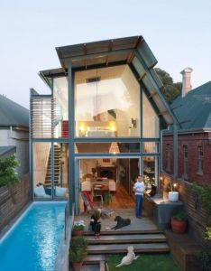 My dream tiny house narrow with backyard and pool good idea to expand the space have  great mix of traditional modern which is exactly also small detached architectural fun pinterest rh za