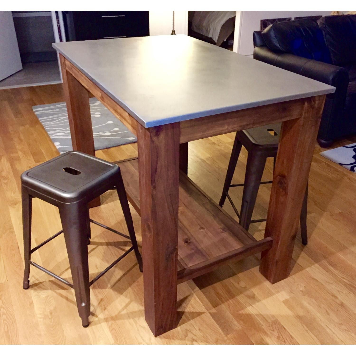 kitchen island bar stools wallpaper for kitchens west elm rustic table w 2 crate