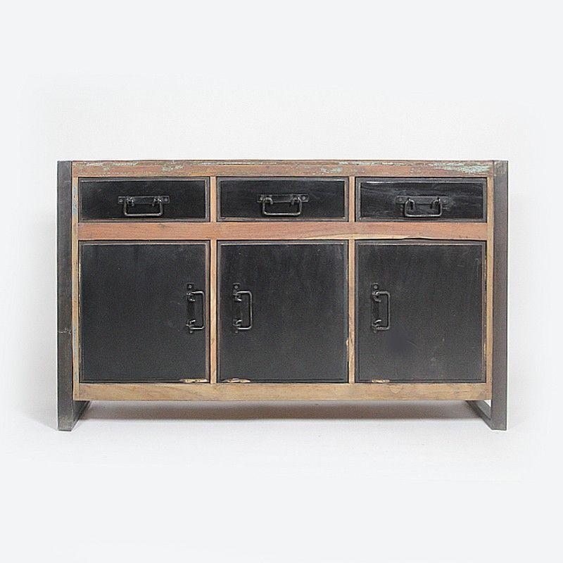 meuble buffet de type loft industriel tres pratique et originale avec ses 3 portes