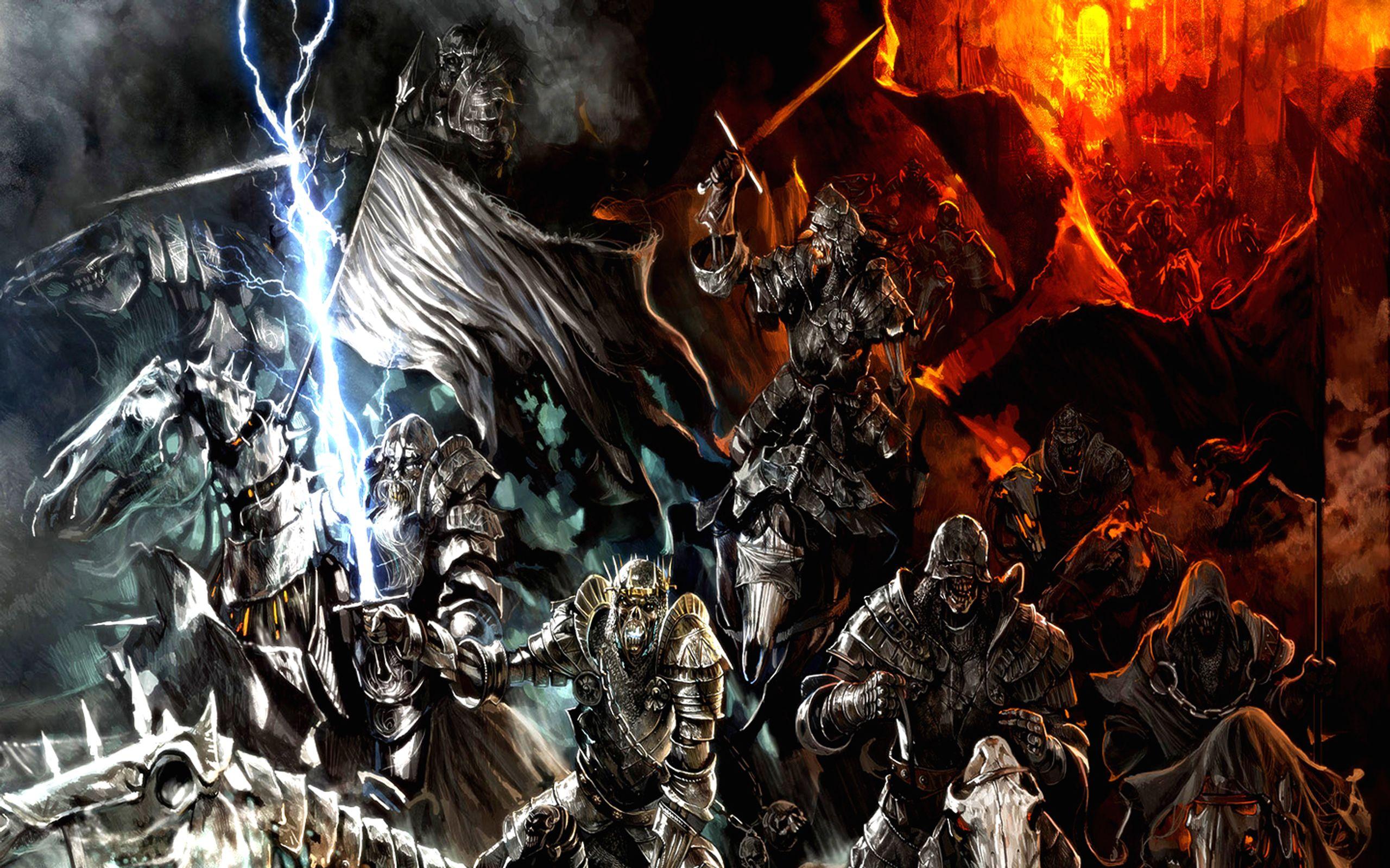 Fantasy Battle Fire Dark Warrior Epic Wallpaper Fantasie