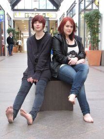 Marie And Svenja Barefoot In Luebeck Free Soles