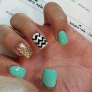 chevron teal gold glitter nails