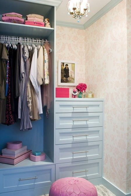 Love The Idea Of A Little Wall Paper And Small Chandelier Paneled Drawers D Feminine Walk In Closet