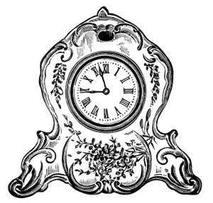 vintage clock clipart, black and white clip art, decorated