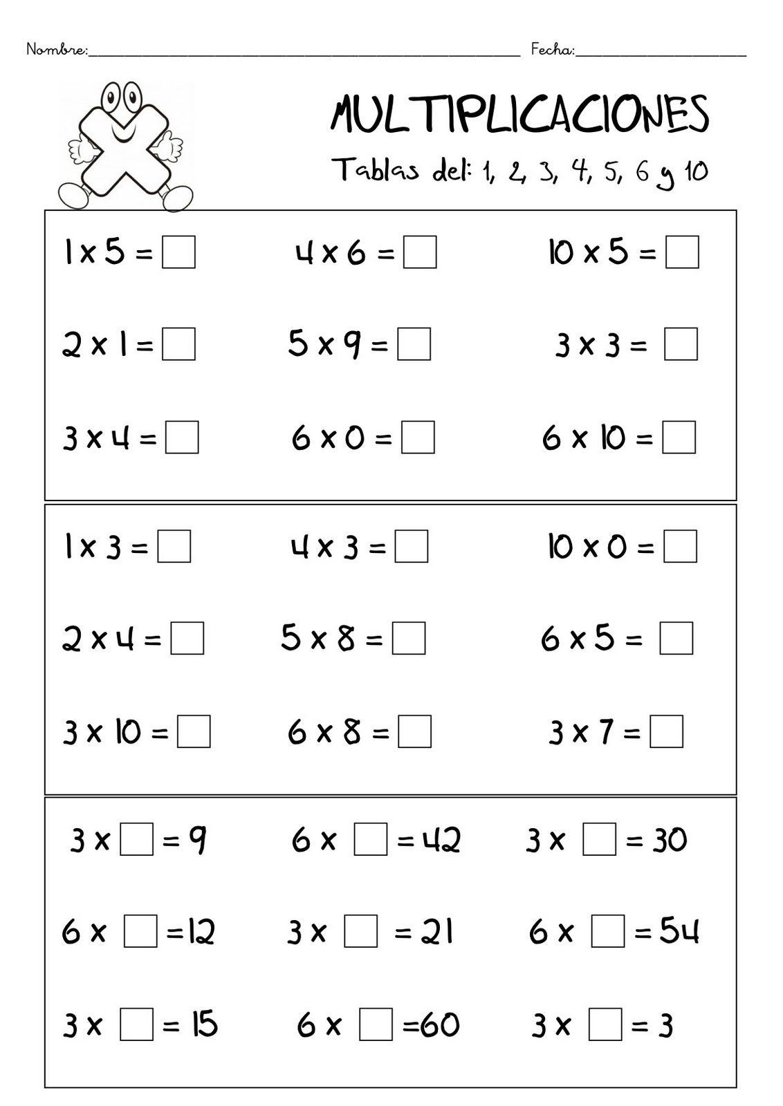 Fichas De Matematicas, Multiplicacion, Tablas De