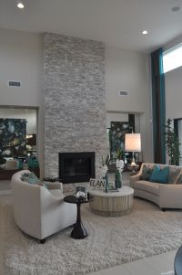 Contemporary Living Room with Floor to ceiling light grey ...