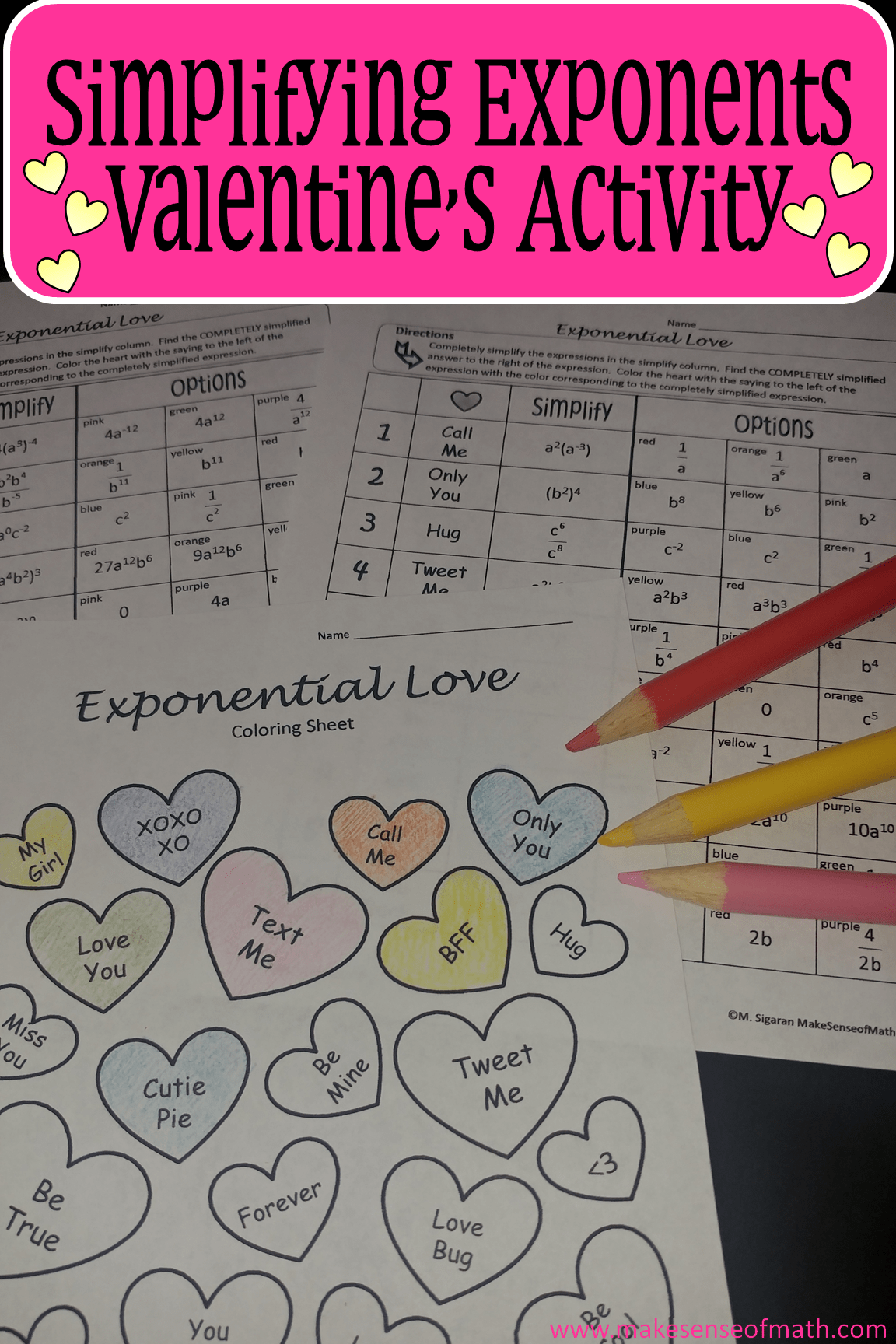 Simplifying Exponents Valentine S Coloring Activity