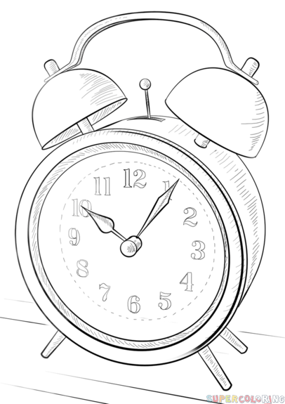 How to draw an alarm clock step by step. Drawing tutorials