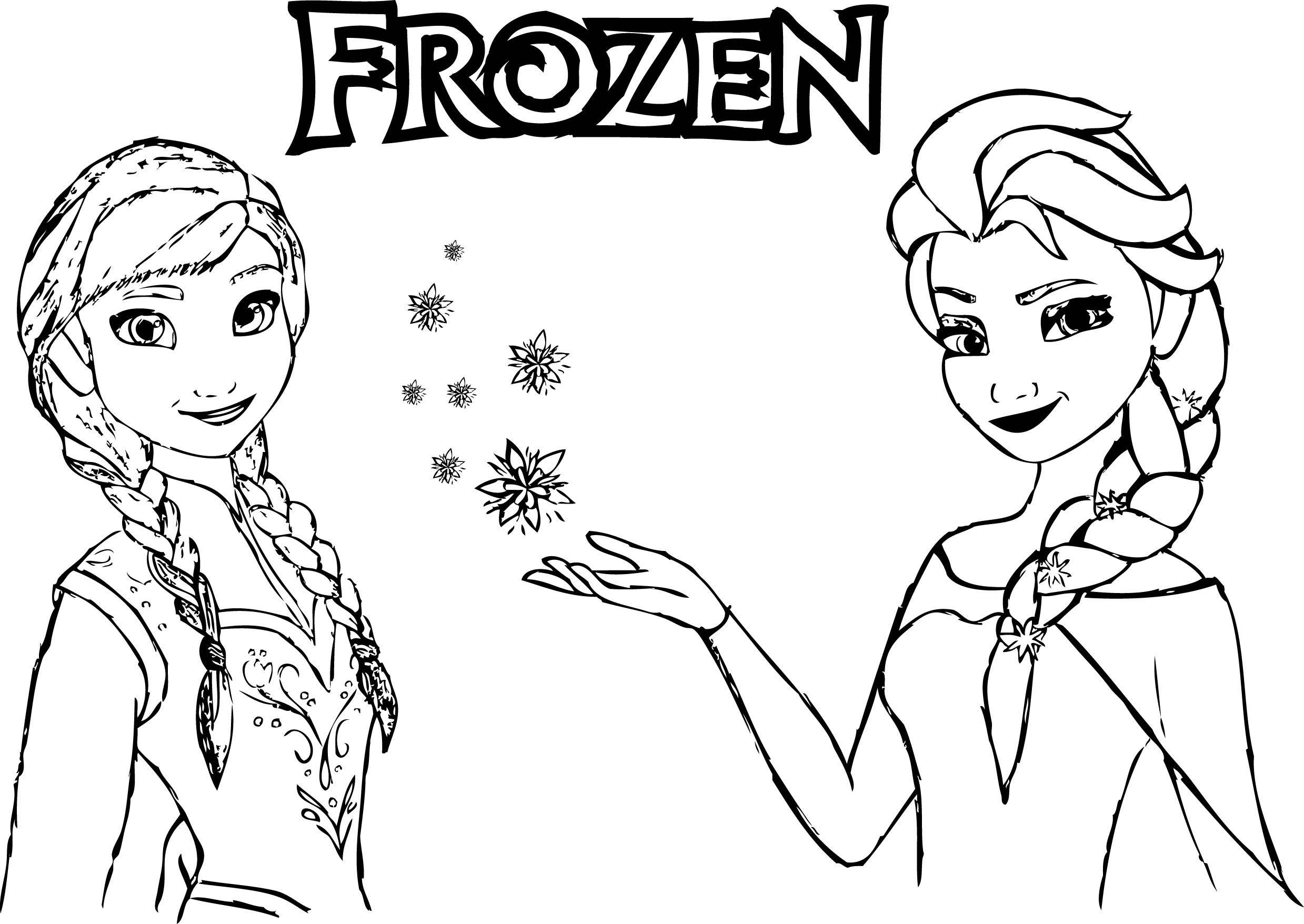 Frozen Anna Elsa Magic Coloring Page