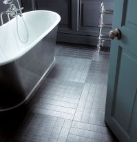 Amtico flooring with underfloor heating in a grey bathroom ...
