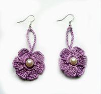 Purple Crochet Earrings Crochet Flower Earrings Crochet ...