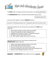Main & subordinate clauses.doc | Grammar activity | Pinterest