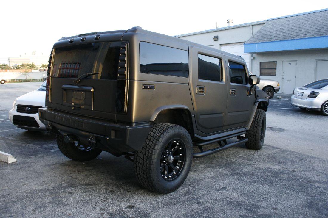 Hummer h2 matte black truck wrap miami florida http