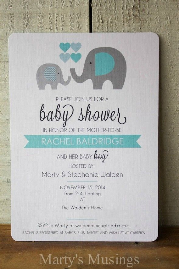 Elephant Themed Baby Shower Theme Invitations Free