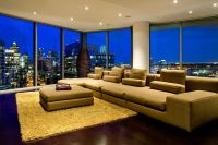Highrise luxury condo, living room design ideas, city view