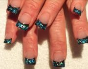 blue acrylic nails black