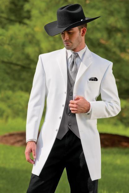 New cowboy series white suitgroom wedding suit jacket
