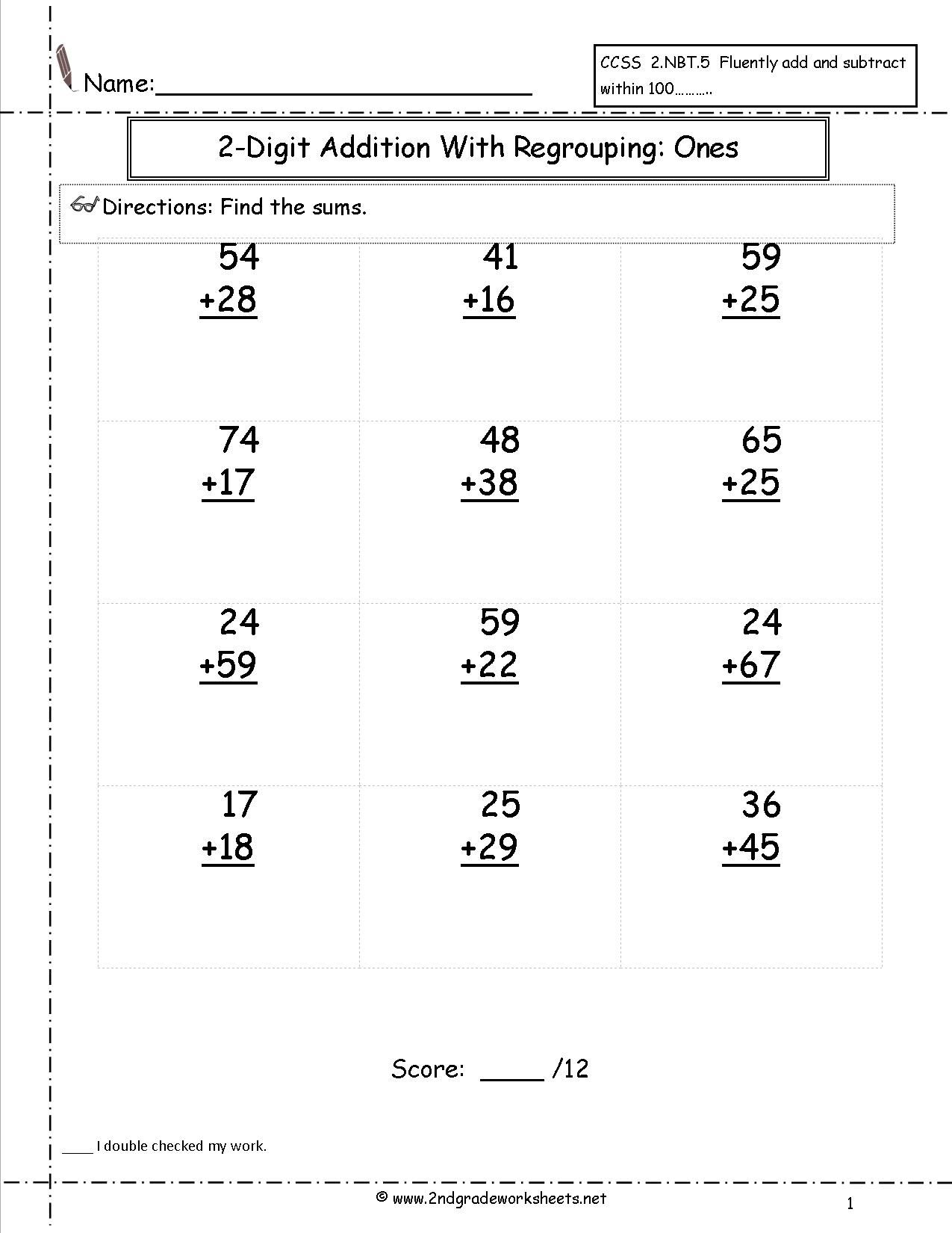 Two Digit Addition With Regrouping Worksheet