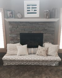 Baby-proof the fireplace hearth with a padded bench! | DIY ...