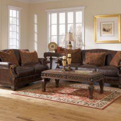 Broyhill Sofa Nebraska Furniture Mart Brown Sofas Decor Opulence Traditional Wood Trim Genuine Leather