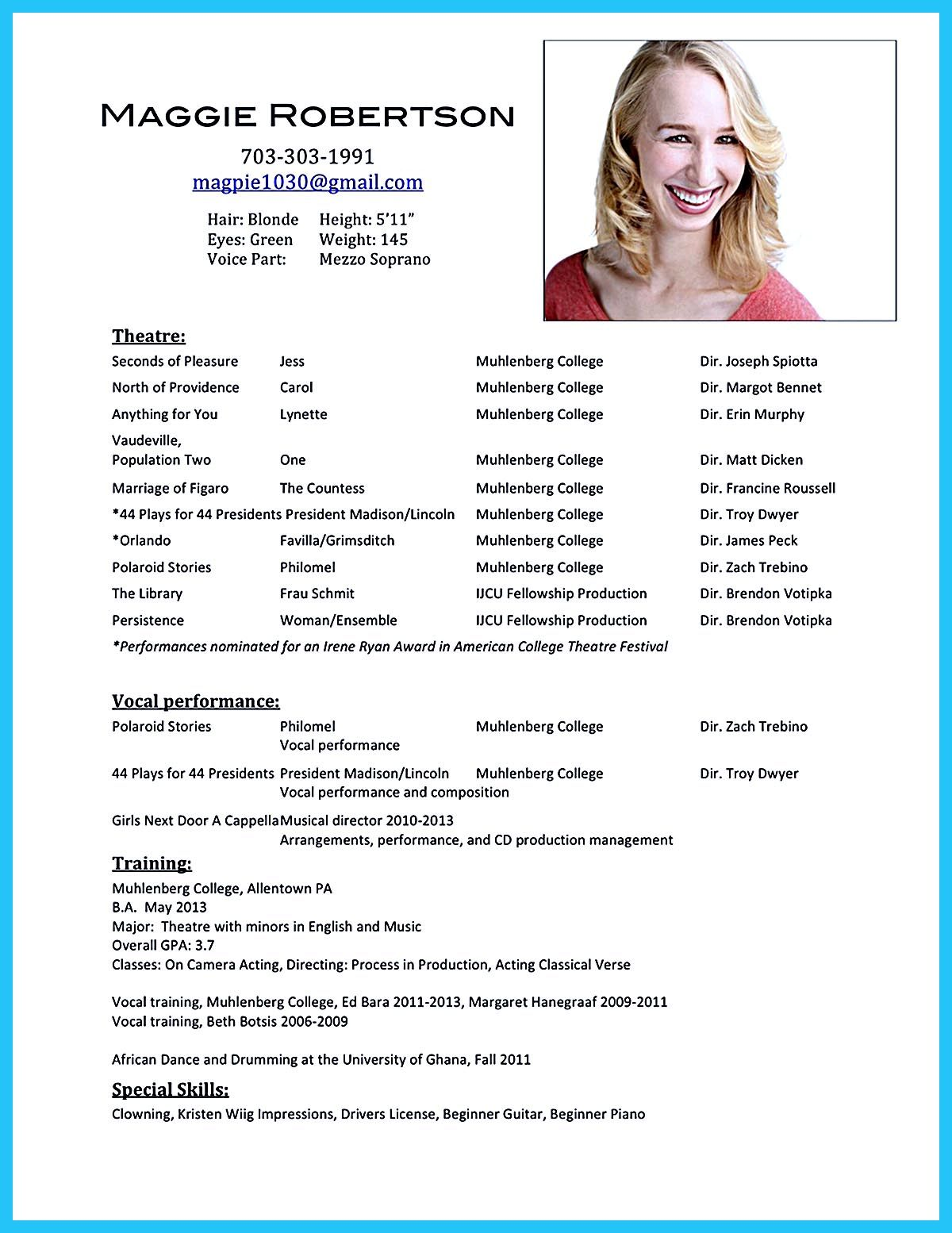 Actors Resume Samples Acting Resume Sample Presents Your Skills And Strengths In