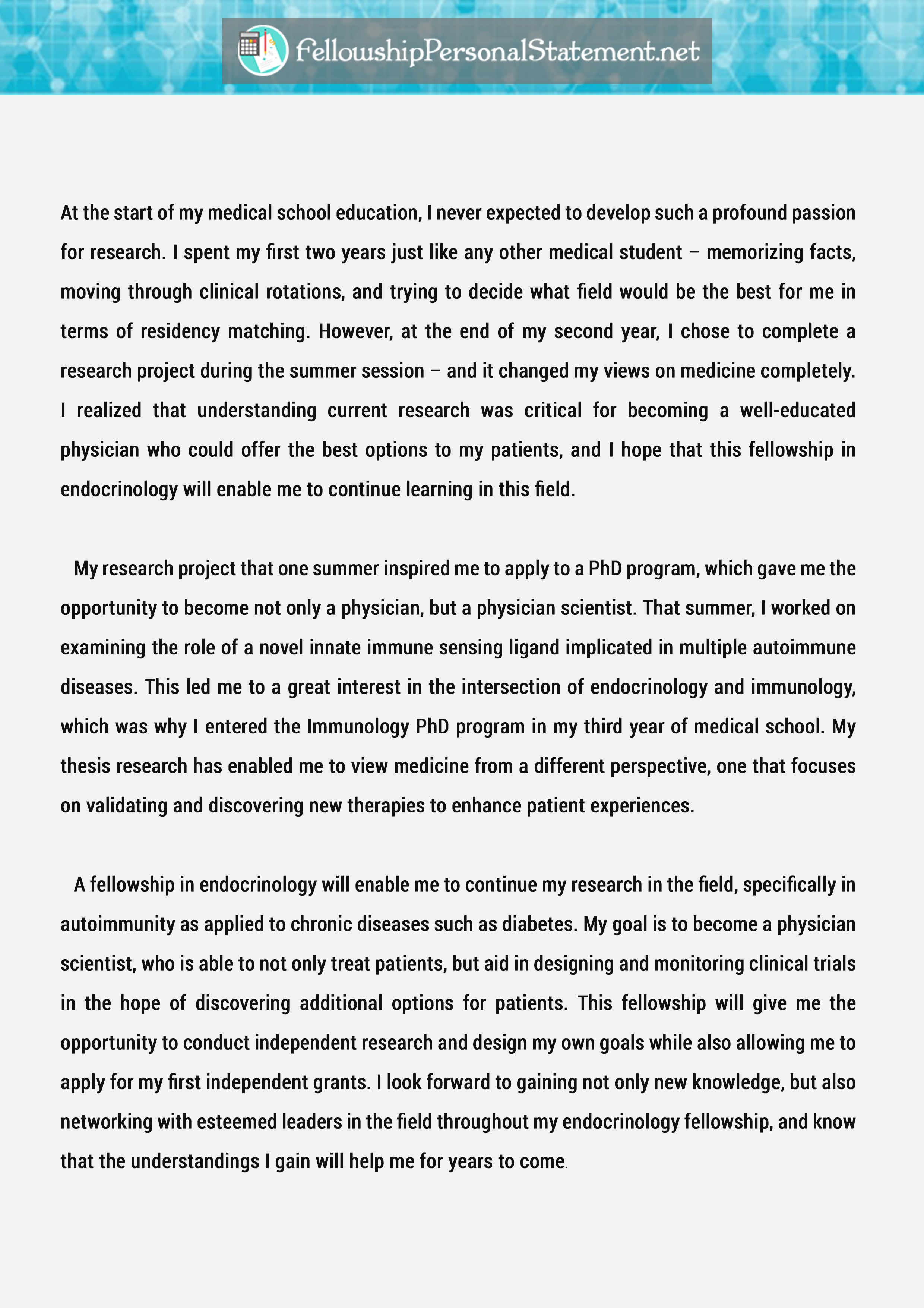 Amazing Sample Fellowship Personal Statement That Will