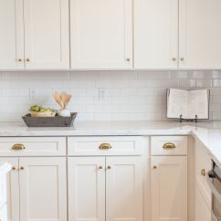 Hardware For White Kitchen Cabinets Corner Hutch Shaker Cabinetry With Brass Cups And Knobs By