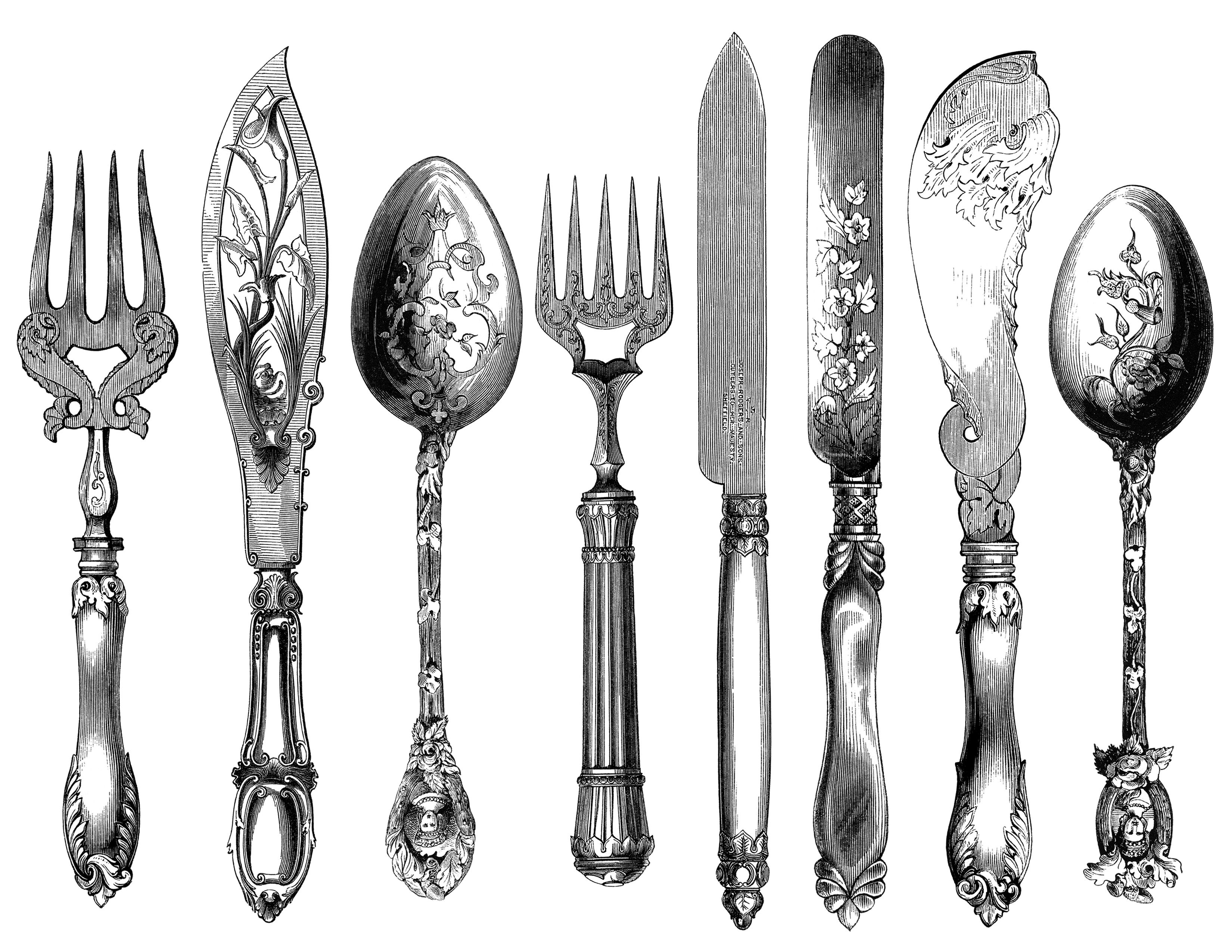 Vintage Cutlery Clipart Cutlery Engraving Fork Knife