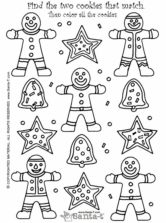Christmas Cookie Match Game and coloring page