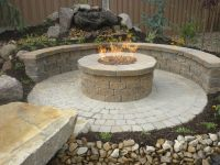 gas fire pits for a patio | circle, paver Wall in country ...