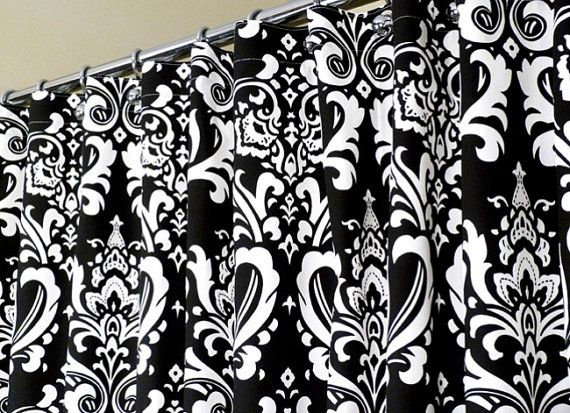 Shower Curtain In Black & White Damask Pattern Sized By LaRicaHome