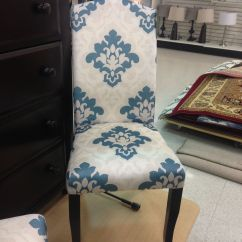 Cynthia Rowley Nailhead Accent Chair Eames Replica White And Blue Damask Parsons