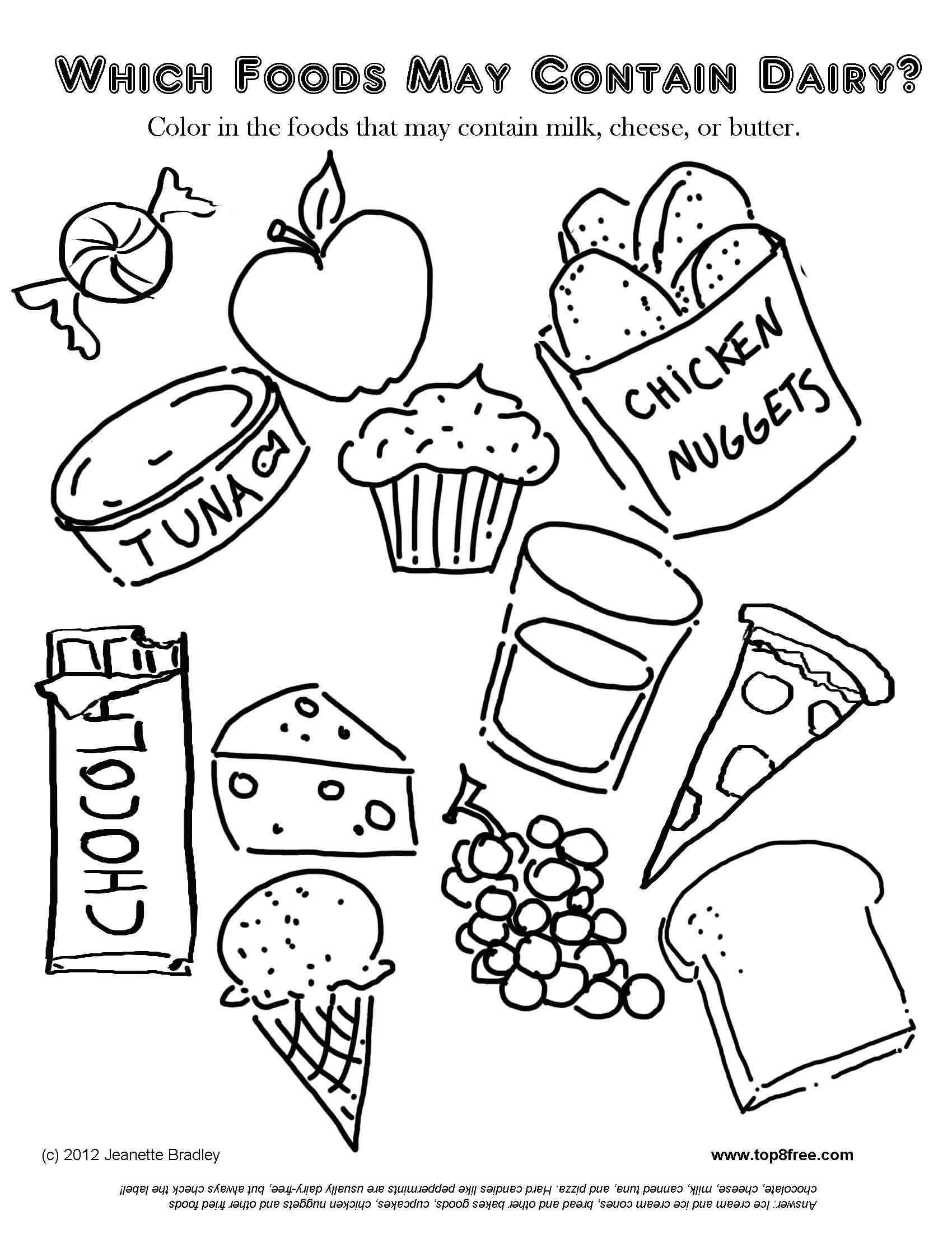Food Allergy Coloring Pages For Kids
