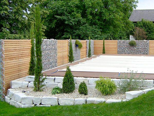 Gabionen Und Holz Sichtschutz Kombiniert Garten Pinterest