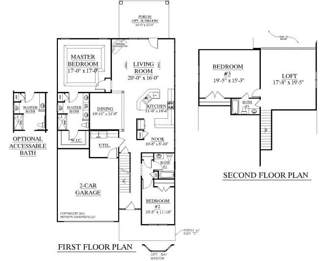 House Plan 2545 Englewood Floor Traditional With 3 Bedrooms And Full Baths Large Open Living Area Master Suite Second Bedroom