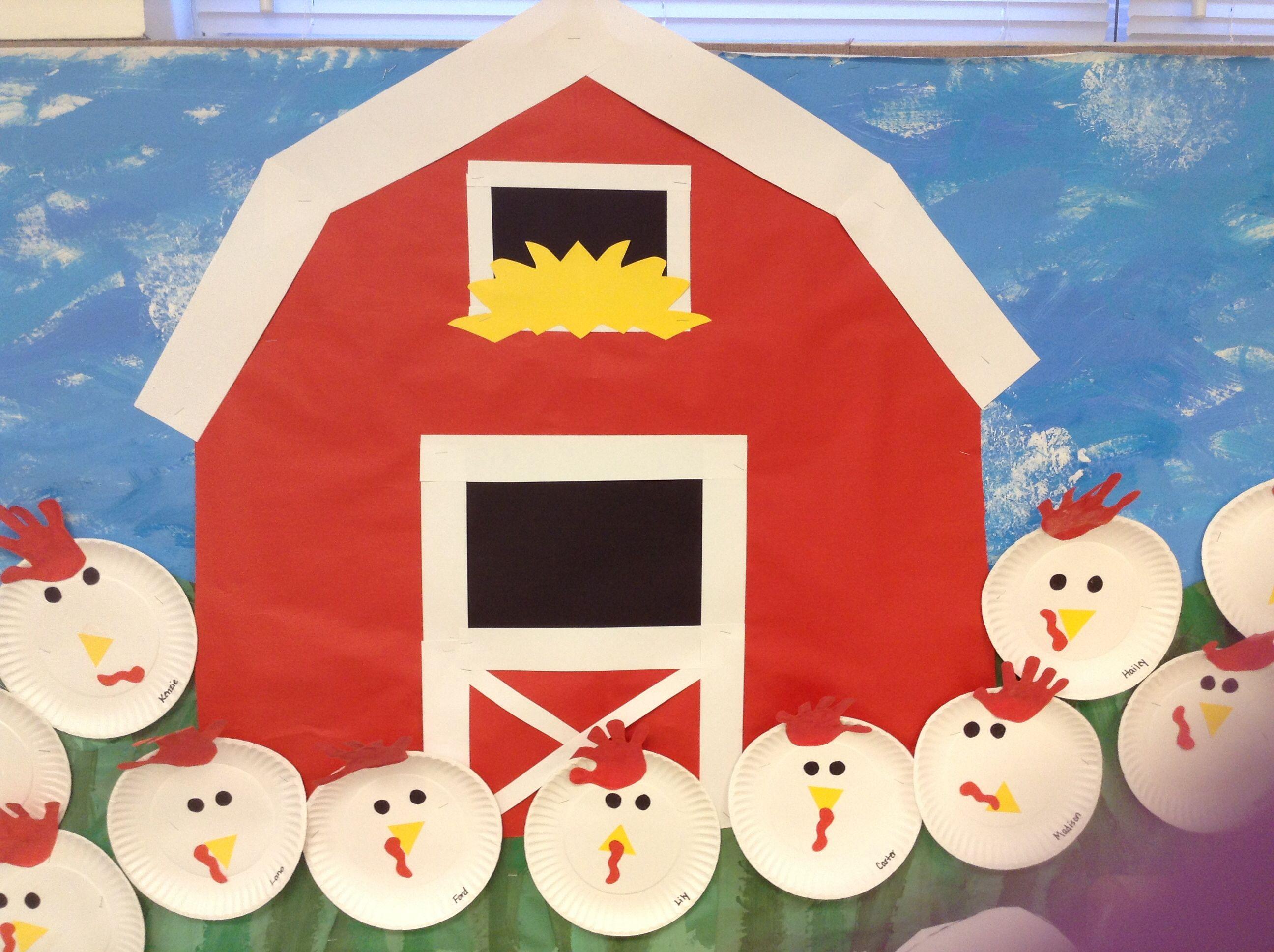 Barn And Chickens Very Cute For Preschool Farm Theme Bulletin Board